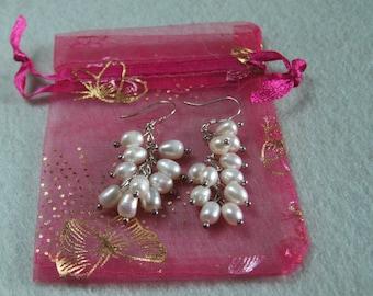 Ladies White Freshwater Pearl Cluster Earrings