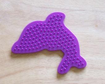 Perler Bead Purple Dolphin Pegboard, Ironing Paper, Instructions, Craft Supply, Church Craft Supply