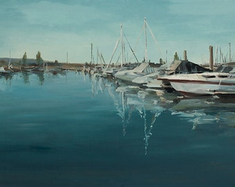 Marina Waters-  Original oil painting on canvas by Lauriann Wakefield  of Bear Lake