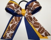 Football Cheer Bow Royal Blue Yellow Gold Ponytail Holder Streamer Ribbons Girls Accessories Team Spirit Custom Color Choice Wholesale Lot