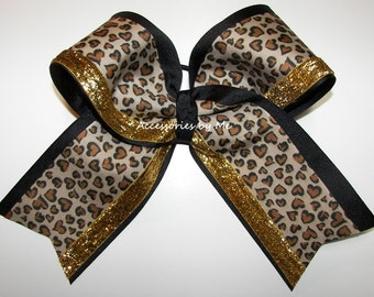 Big Cheer Bow, Sparkly Leopard Cheer Bow, Cheetah Black Gold Ribbon 7 Inch  Bows, Cheerleader Dance Football Softball Volleyball Teams, Bulk