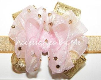 Glitz Pink Gold Headband, Blush Pink Gold Bow Band, Light Pink Gold Organza Metallic Bow Hair Band, Baby Pink Gold 1st Birthday Head Bands