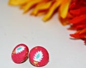 Pink Feather Button Earring