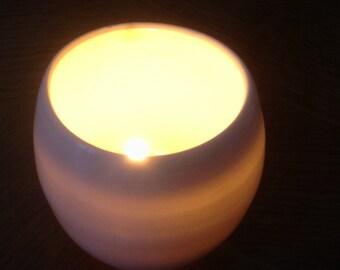 white translucent porcelain votive