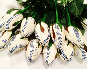 12 Basebsll Rose Buds/ blue lace baseballs/ Baseball Wedding Theme