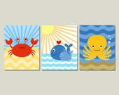 Ocean Nursery Art Prints, Set of Three Under the Sea Children's Artworks
