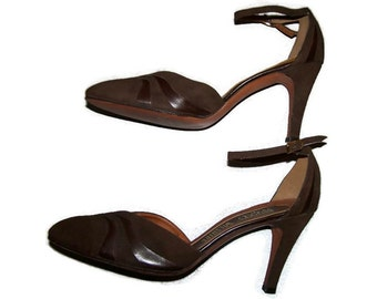 Strappy Shoes, Ankle Strap, High Heeled Shoes, Brown Shoes, Retro Shoes, Women's 9 1/2 Shoes. Women's Size 9.5 Shoes, Vintage 80's Shoes