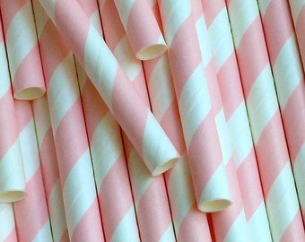 25 Light Pink and White Diagonal Stripe Paper Drinking Straws - Party Decor Supplies Tableware