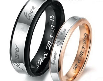 Engraved Ring, Personalized Ring, Couples RIng Set, Gold & Black Forever Love RIng Set, His And Hers Ring Set, Custom Engraved, Promise Ring
