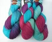 Yarn sock weight Hand dyed 100% Superwash Merino- merry-go-round