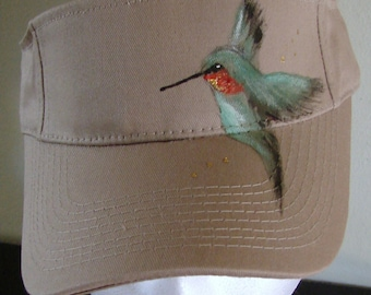 Beige Sun Visor  with Turquoise Hummingbird