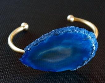 Blue Agate Slice Bangle, Agate Bracelet