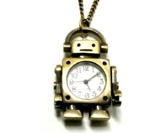Robot Watch Necklace Steampunk watch Handmade Gift