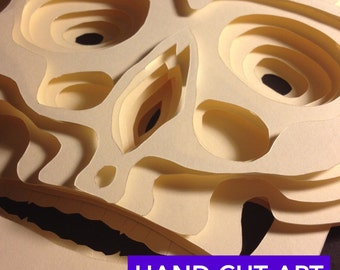 3D Paper Diorama Human Skull