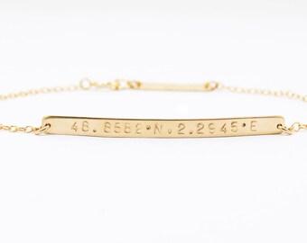 Custom Coordinates Bracelet, Coordinates Bar Bracelet, GPS Bracelet, Coordinates Jewelry, Gold Custom Bracelet, Customized Bracelet