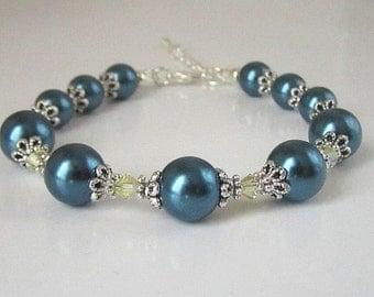Navy and Yellow Bridesmaid Bracelet, Navy Bridal Jewellery, Blue and Lemon Bridesmaid Sets, Dark Blue Wedding, Bridal Party Gifts,