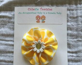 Sunflower and Polka Dots Girls Small Pinwheel Hair Clip