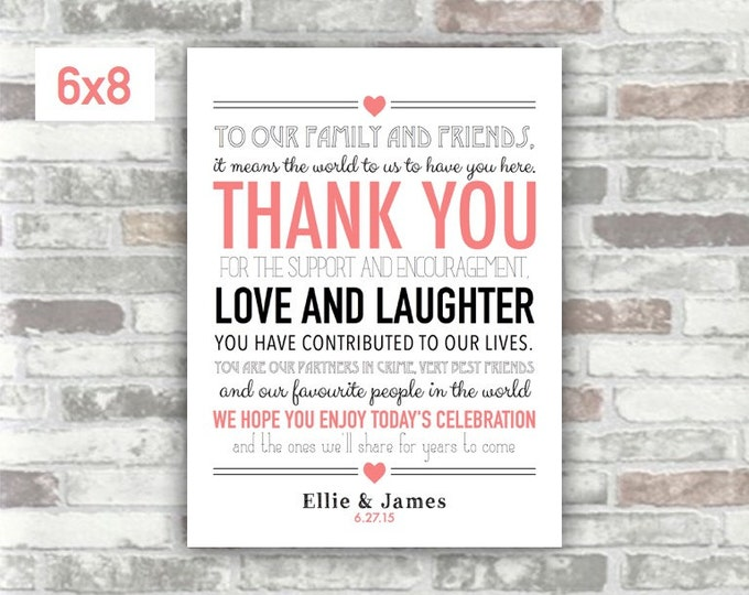 PRINTABLE Wedding Thank You Sign - Digital Download Print File - Coral black typography - Personalised wedding decor - diy place settings