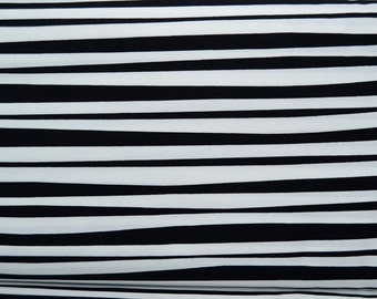 SALE One Yard Black and White Pirate Stripe - Alexander Henry Cotton Fabric