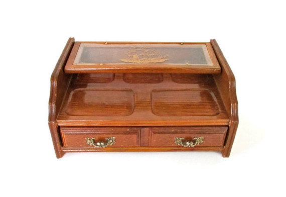 Vintage jewelry box solid wood valet with gold stamp sail ship for Solid wood jewelry chest