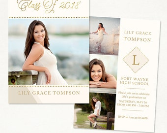Senior Graduation Announcement Template for Photographers 014 - ID228, Instant Download