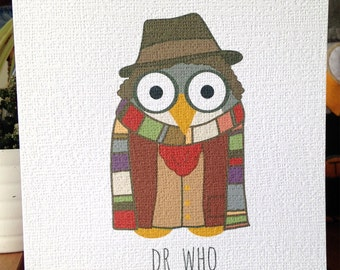 Dr Who Owl Greetings Card