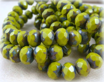 Czech Beads, 8x6mm Rondelle, Czech Glass Beads - Chartreuse Glass Beads (R8/N-0710L) - Qty 12