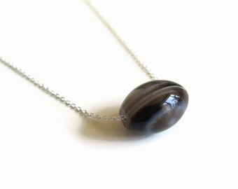 Floating Black Agate and Sterling Silver Necklace