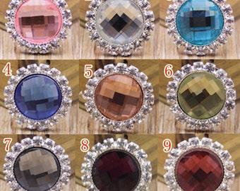 9 Flat Back Vintage Rhinestone Crystal Button ( 20x20 mm) QS-071