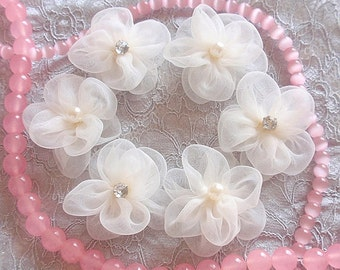 6 Handmade Organza Flowers With Pearl And Rhinestone (1-3/4 inches) in Cream  MY-336 Ready To Ship