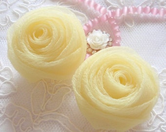 2 Organza Rolled Roses Chiffon Roses Organza Roses Chiffon Flowers In Yellow  MY-352-08 Ready To Ship