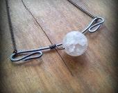 La Luna Cloudy Quartz Necklace Unique Steampunk Jewelry Elegant Gemstone Jewelry - On Sale!