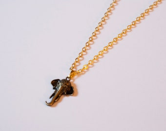 Elephant Head Bronze Necklace