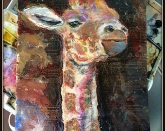 Giraffe mixed media original painting by Ellen Brenneman