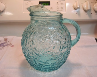 Vintage Aqua  Anchor Hocking Water Pitcher 1960,s