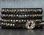 bohemian jewelry - wrap bracelet black brown leather and iridescent crystal - dark brown - boho gypsy