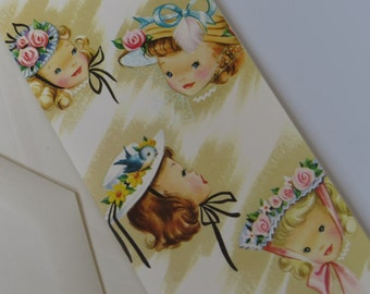 Vintage 50's Greeting Card ~ Happy Birthday Wishes ~ Little Girls in Bonnets