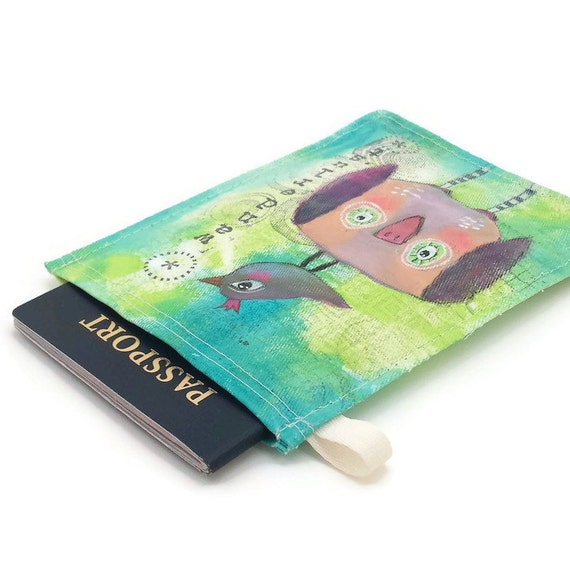 Wanderlust Owl Handpainted Passport Case, Colorful Birds Hand Painted Passport Holder, Passport Sleeve, Passport Wallet, Passport Pouch no20