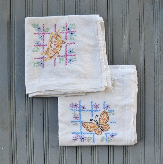 Vintage Embroidered Kitchen Tea Towels Cotton Butterfly