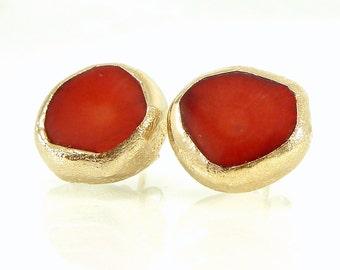Coral Gold Earrings, Red Stud Earrings, Post Gemstones Earrings, Studs, Gold Coral Stud Earrings, Red Jewelry, By Inbal Mishan.