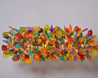 Ceiling Light Fixture - Multicolored flowers and leaves chandelier for dinning table or living room