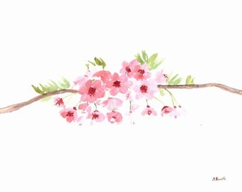 Cherry blossom flowers ORIGINAL watercolour painting cherry blossom art pink flowers sakura art 12 x 9 inches