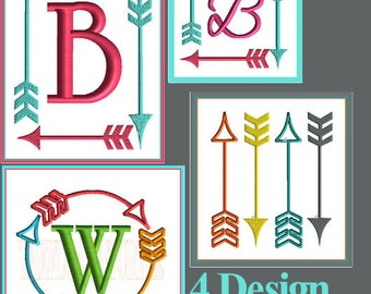 Arrow Monogram Font Frame Embroidery Design Arrow Embellishment Embroidery Design Arrow Design Fill Stitch Satin Stitch Embroidery Design