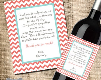 Shower Hostess Gift, Bridal Shower Thank You, Gift for Hosting Bridal Shower, Wine Label, Wine Gift for Shower, Thank You Wine Label