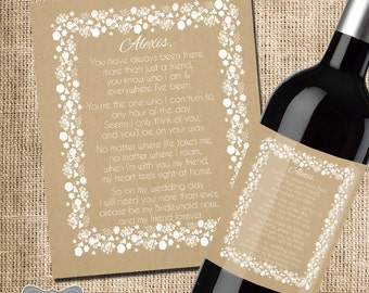 Asking Bridesmaid Gift, Will you be my bridesmaid wine label, Bridesmaid Proposal, Wine label for bridesmaid, Bridesmaid Box Wine Label