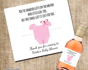 Mini Wine Label Baby Shower Favor, Gift for Hosting Baby Shower, Mini Wine Label, Shower Hostess Gift, Baby Shower Wine Label, Custom Label
