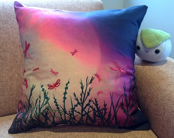 Embroidered Digital Designed Print Cushion Pillow Cover - Twilight Pillow