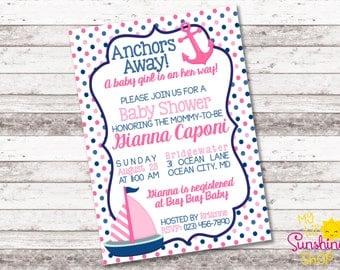 Nautical Baby Girl Shower Invitation | Anchors Away Baby Girl on the Way | Pink Navy | Baby Shower | Nautical | Baby Girl | Digital Invite