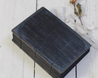 Elegant black photo album,coptic bound wedding guest book,art journal,sketchbook or travel journal,custom made 9x6 inches