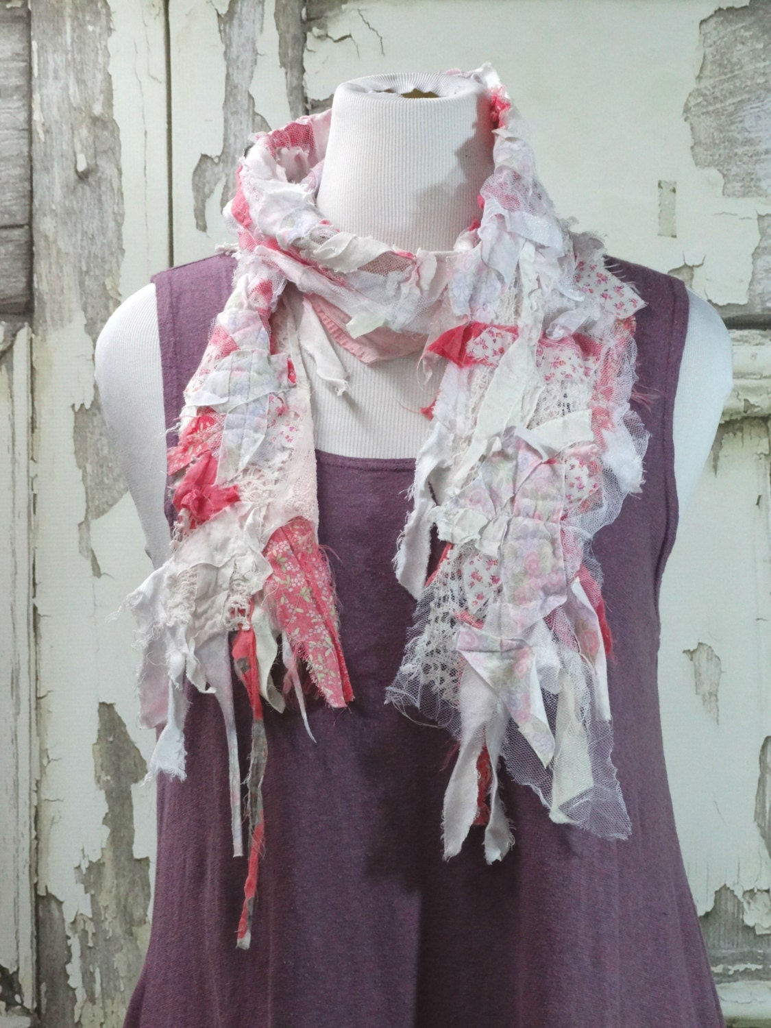 Pink And White Lace Scarf Shabby Chic Upcycled Clothing